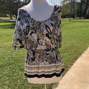 Women's Black and Yellow Paisley Pattern Shirt